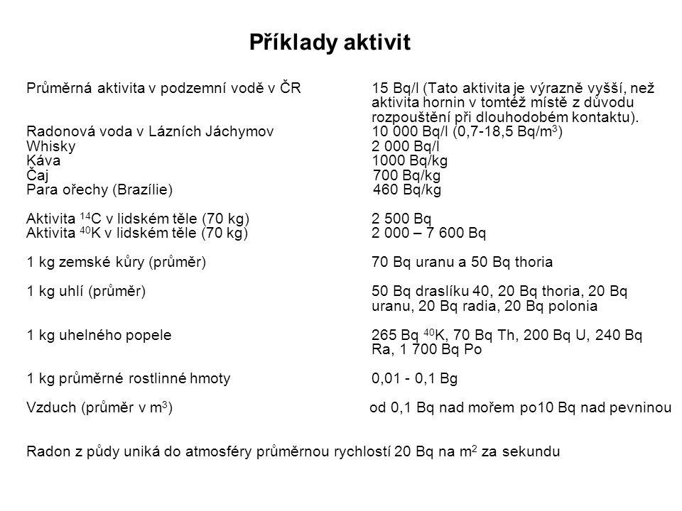 Příklady aktivit Průměrná aktivita v podzemní vodě v ČR 15 Bq/l (Tato aktivita je výrazně vyšší, než.