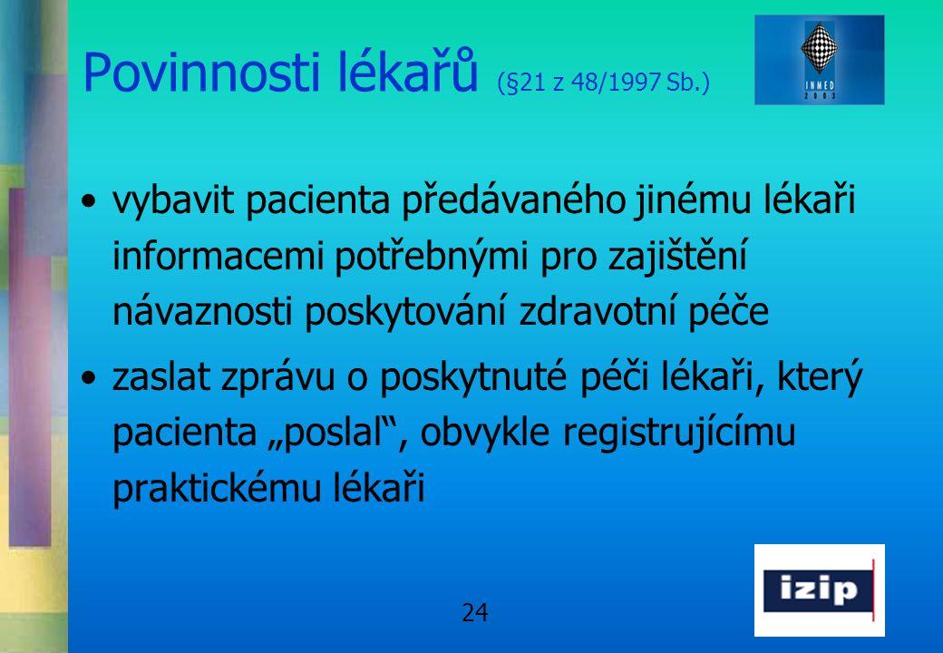 Povinnosti lékařů (§21 z 48/1997 Sb.)