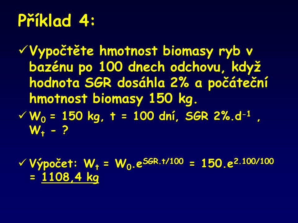 Příklad 4: Vypočtěte hmotnost biomasy ryb v bazénu po 100 dnech odchovu, když hodnota SGR dosáhla 2% a počáteční hmotnost biomasy 150 kg.