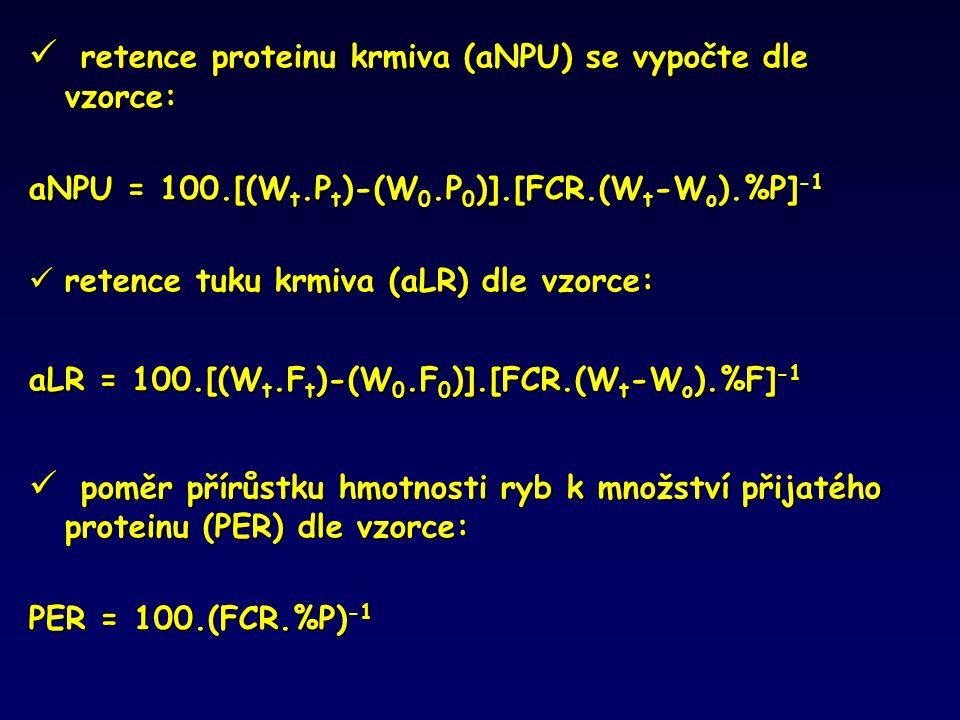 retence proteinu krmiva (aNPU) se vypočte dle vzorce: