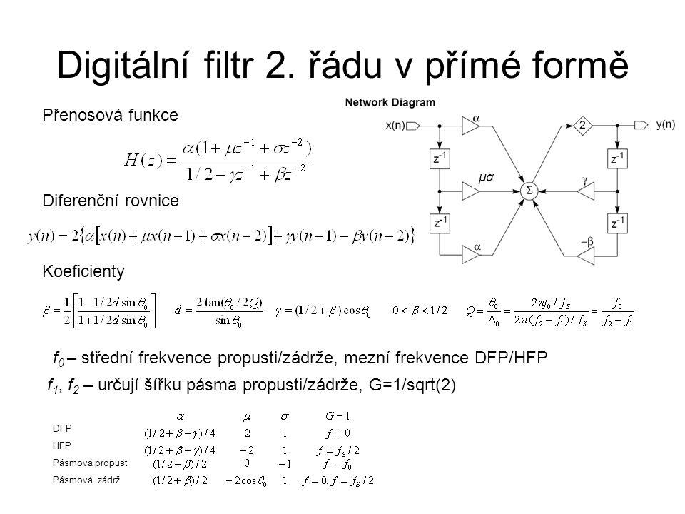 Digitální filtr 2. řádu v přímé formě