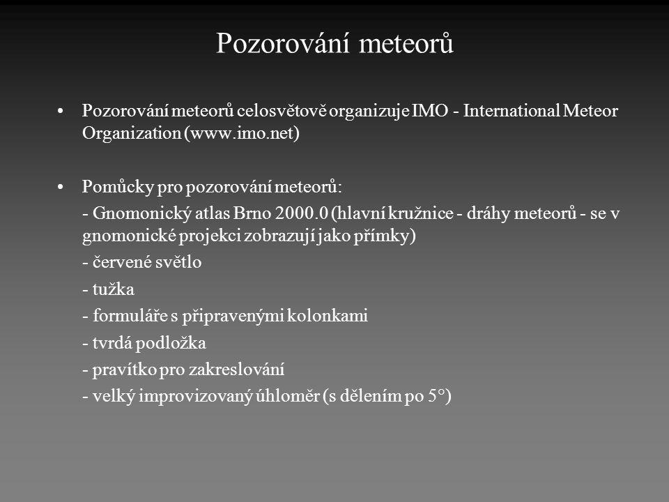 Pozorování meteorů Pozorování meteorů celosvětově organizuje IMO - International Meteor Organization (www.imo.net)