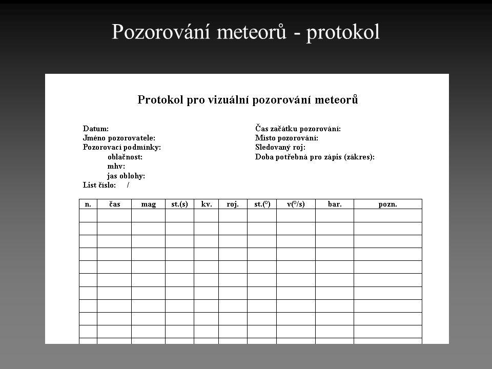 Pozorování meteorů - protokol