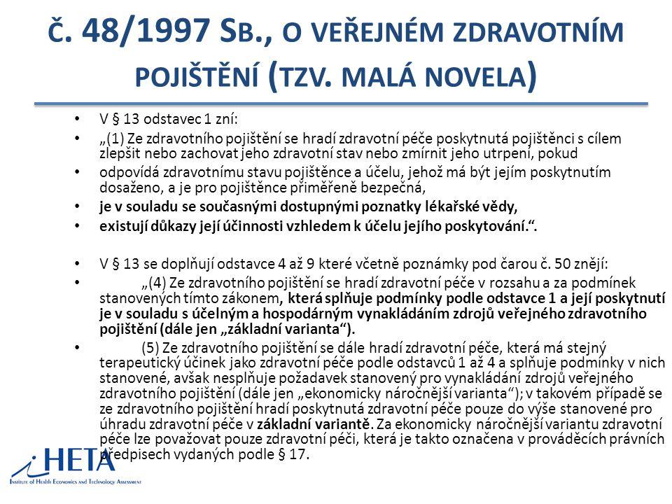 č. 48/1997 Sb., o veřejném zdravotním pojištění (tzv. malá novela)
