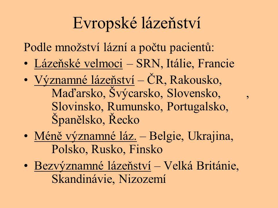 Evropské lázeňství Podle množství lázní a počtu pacientů: