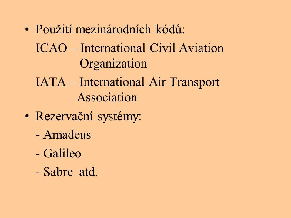 Použití mezinárodních kódů:
