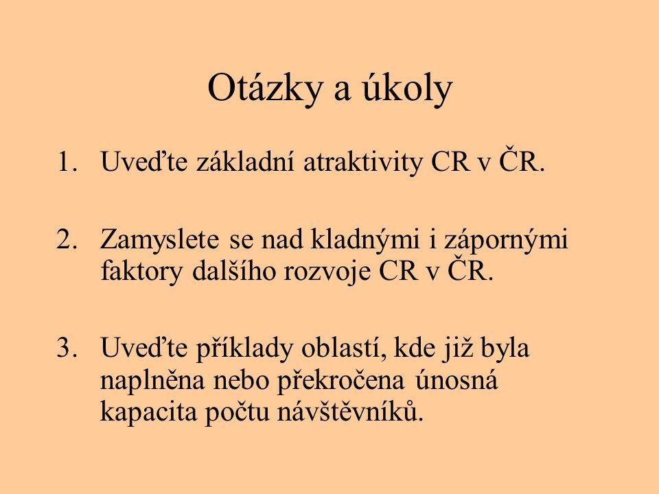 Otázky a úkoly Uveďte základní atraktivity CR v ČR.