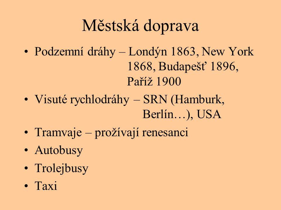Městská doprava Podzemní dráhy – Londýn 1863, New York 1868, Budapešť 1896, Paříž 1900.