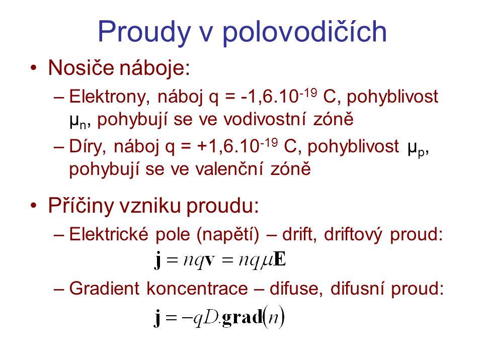 Proudy v polovodičích Nosiče náboje: Příčiny vzniku proudu: