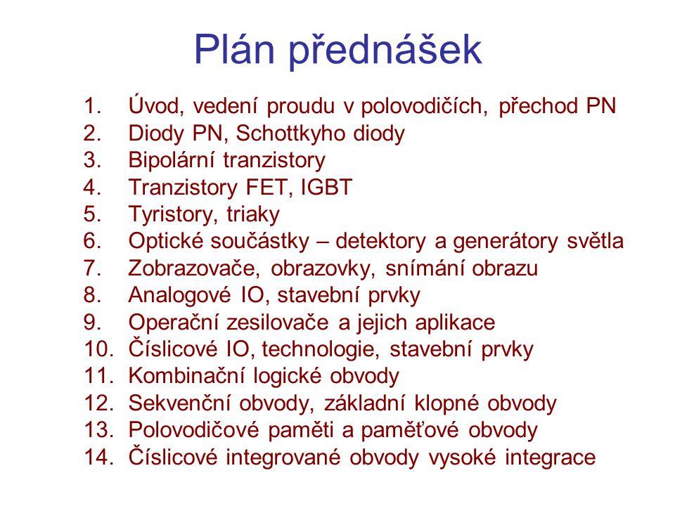 Plán přednášek Úvod, vedení proudu v polovodičích, přechod PN