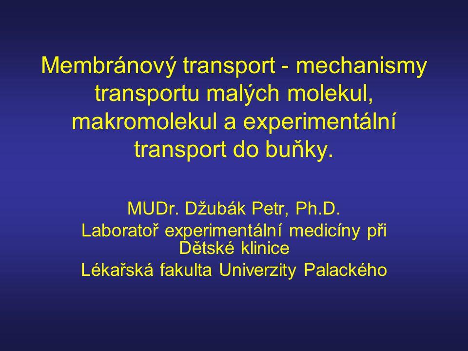 Membránový transport - mechanismy transportu malých molekul, makromolekul a experimentální transport do buňky.