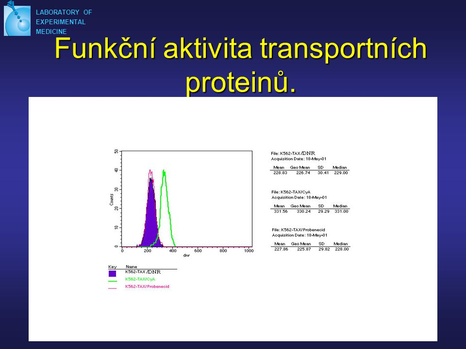 Funkční aktivita transportních proteinů.