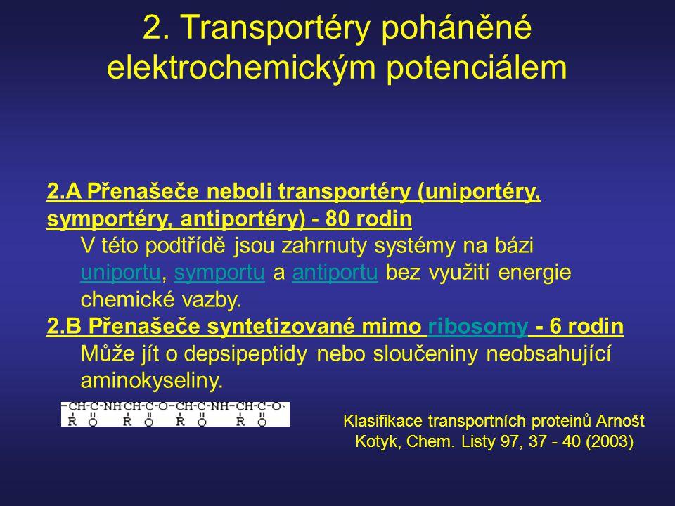 2. Transportéry poháněné elektrochemickým potenciálem