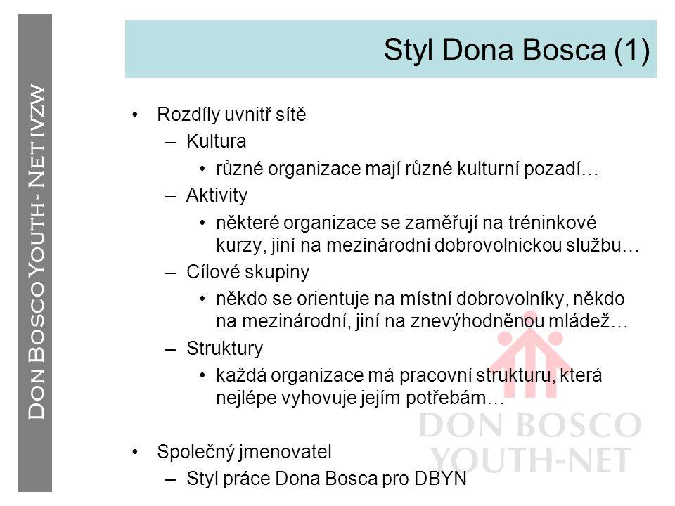 Styl Dona Bosca (1) Rozdíly uvnitř sítě Kultura