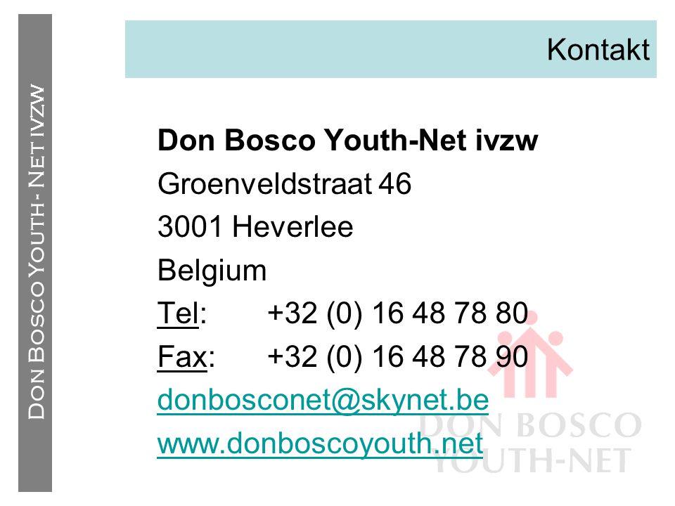 Kontakt Don Bosco Youth-Net ivzw. Groenveldstraat 46. 3001 Heverlee. Belgium. Tel: +32 (0) 16 48 78 80.
