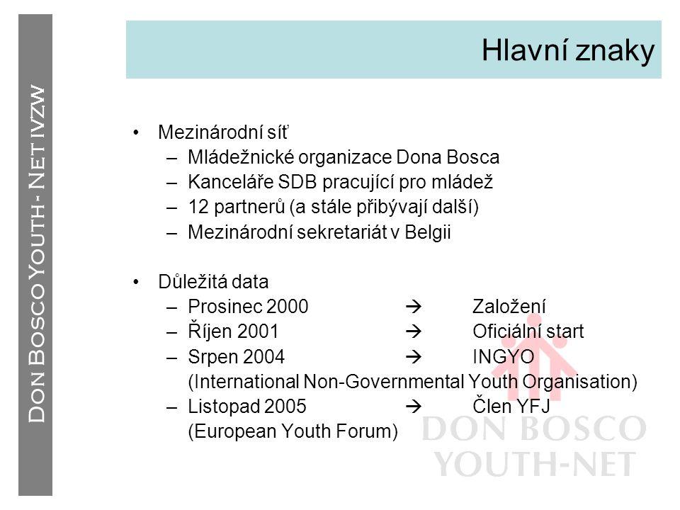 Hlavní znaky Mezinárodní síť Mládežnické organizace Dona Bosca