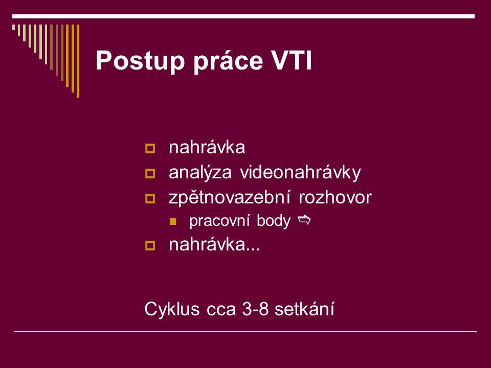 Postup práce VTI nahrávka analýza videonahrávky zpětnovazební rozhovor