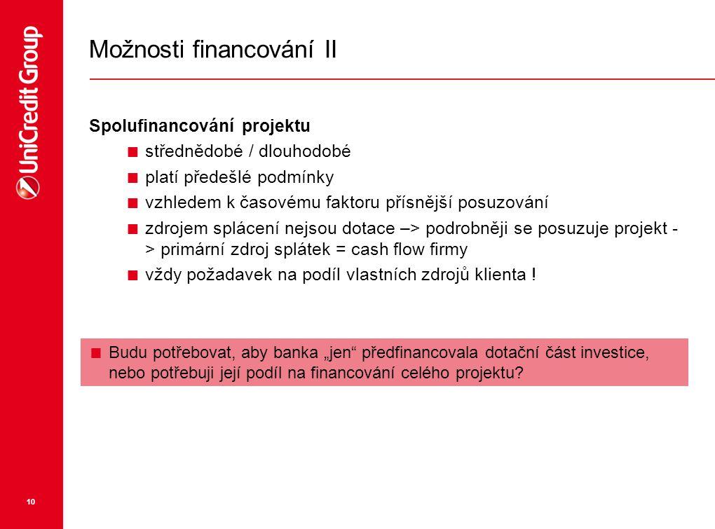 Možnosti financování II