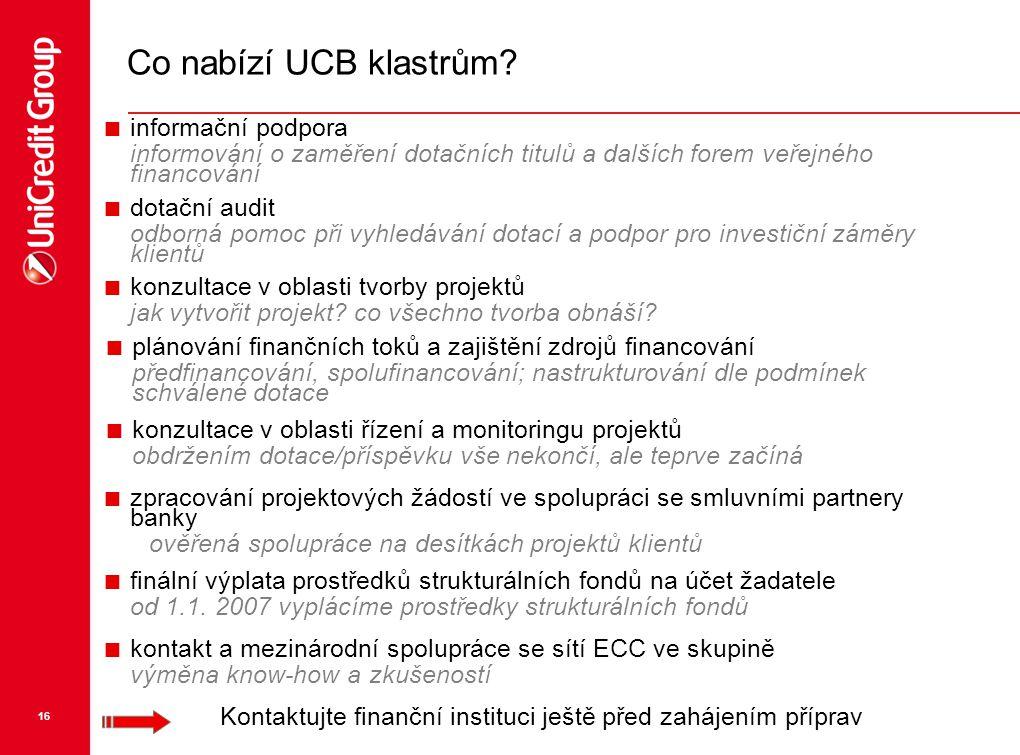 Co nabízí UCB klastrům informační podpora