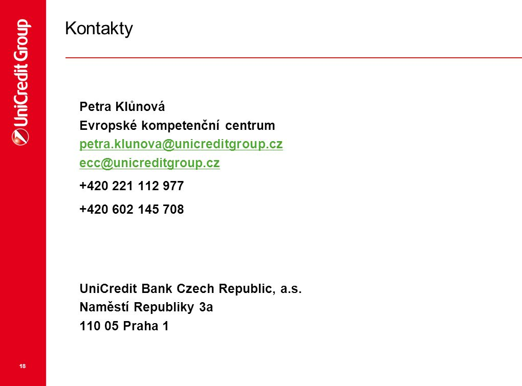 Kontakty Petra Klůnová Evropské kompetenční centrum