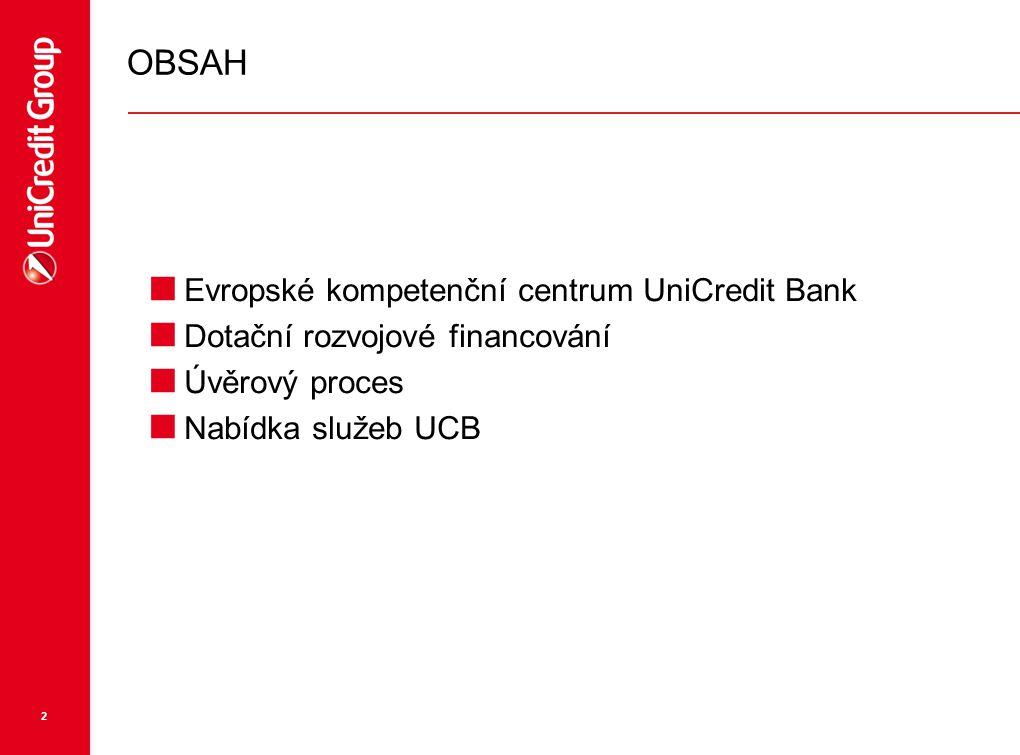 OBSAH Evropské kompetenční centrum UniCredit Bank