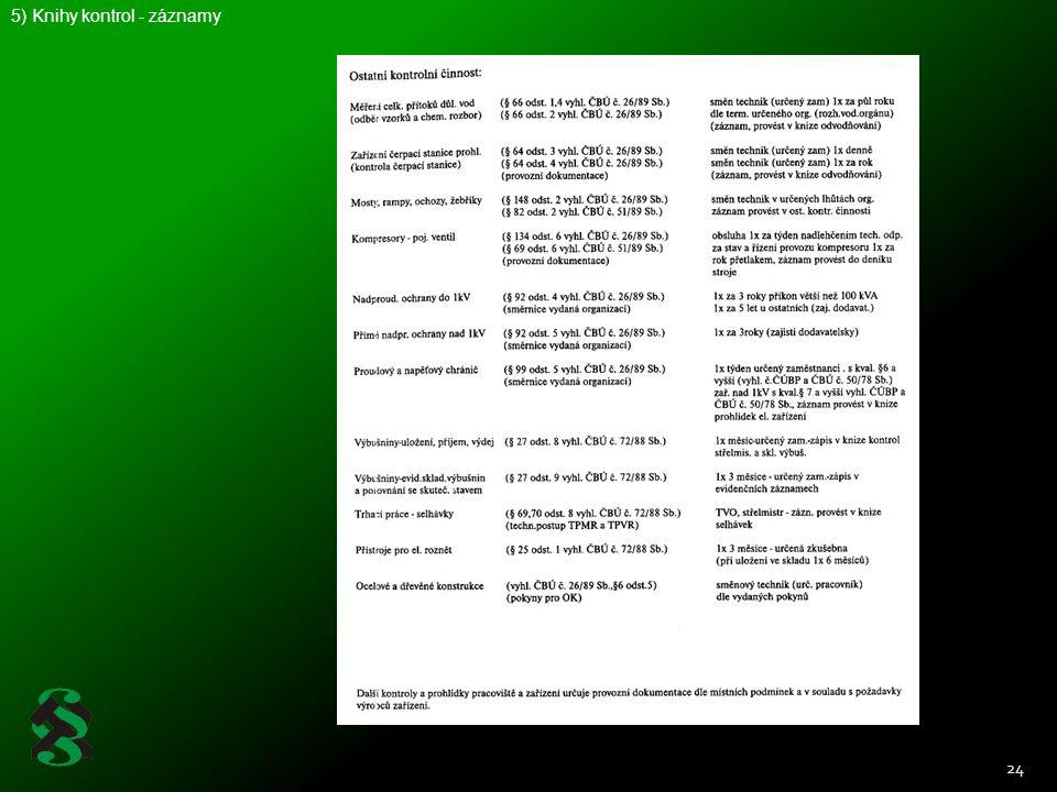 5) Knihy kontrol - záznamy