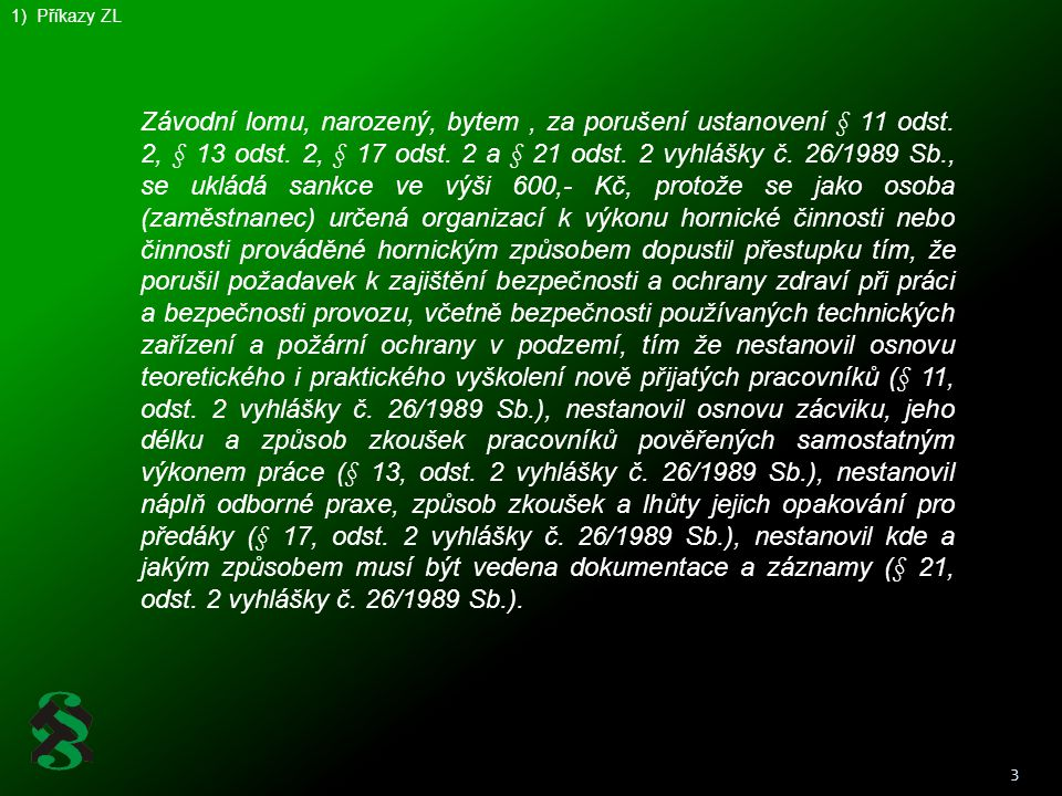 1) Příkazy ZL