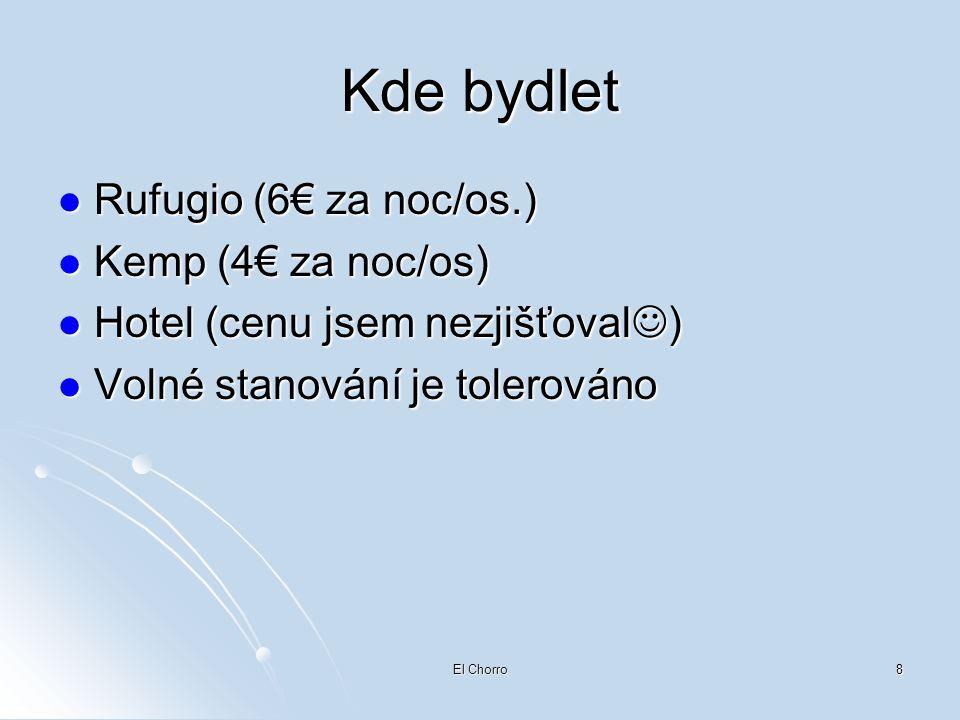 Kde bydlet Rufugio (6€ za noc/os.) Kemp (4€ za noc/os)