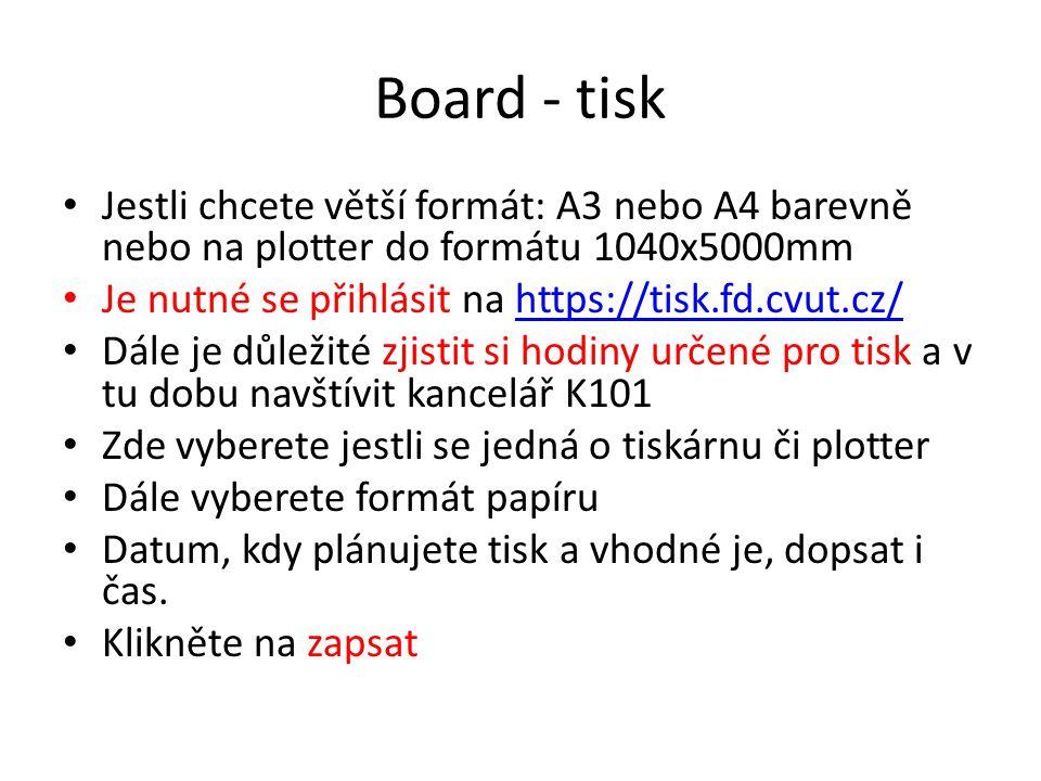 Board - tisk Jestli chcete větší formát: A3 nebo A4 barevně nebo na plotter do formátu 1040x5000mm.