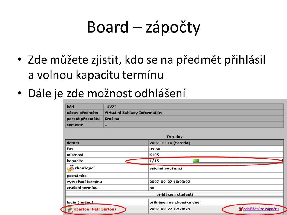 Board – zápočty Zde můžete zjistit, kdo se na předmět přihlásil a volnou kapacitu termínu.