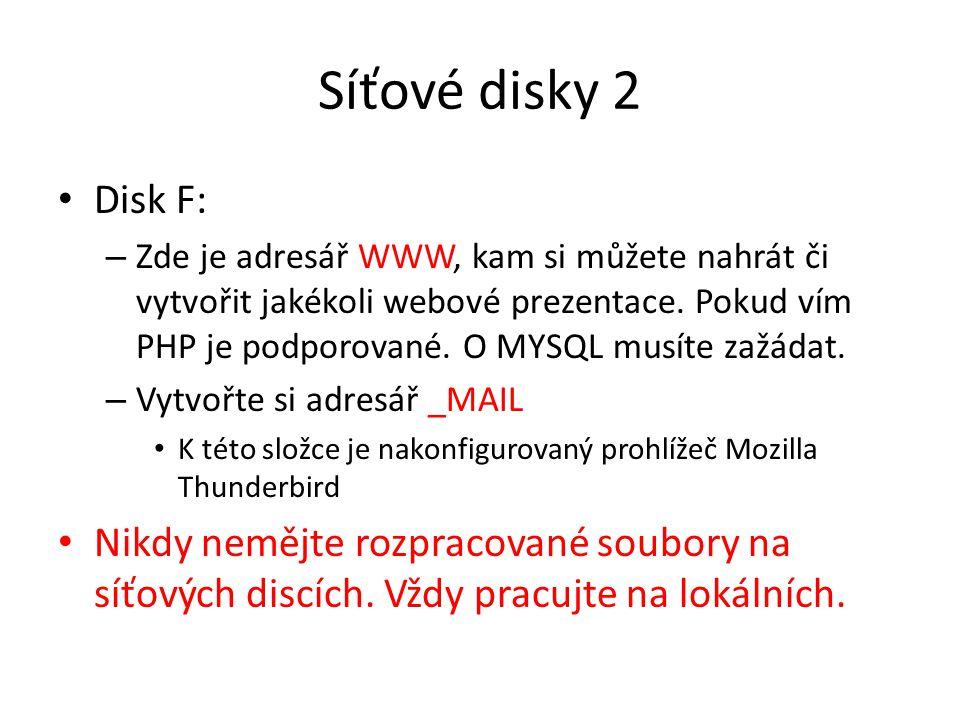 Síťové disky 2 Disk F: