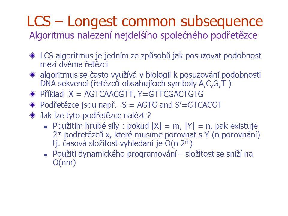 LCS – Longest common subsequence Algoritmus nalezení nejdelšího společného podřetězce