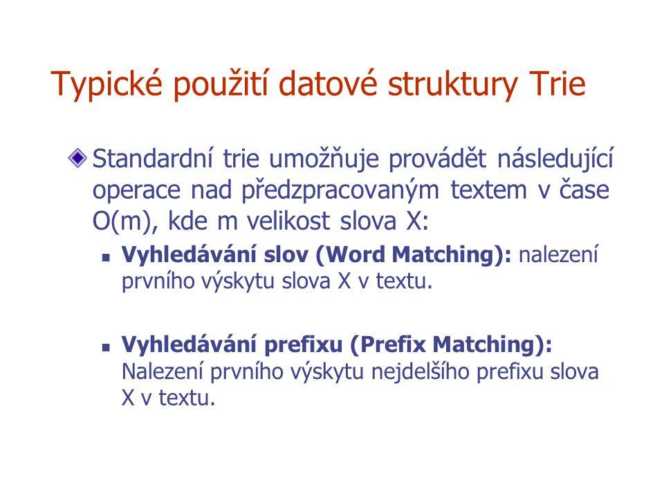 Typické použití datové struktury Trie