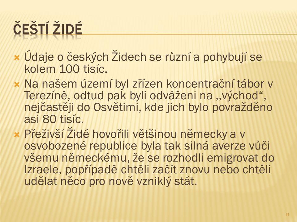 Čeští židé Údaje o českých Židech se různí a pohybují se kolem 100 tisíc.