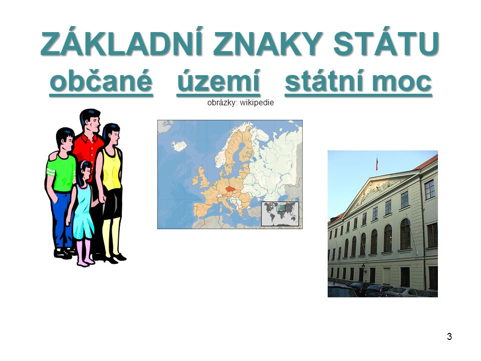 ZÁKLADNÍ ZNAKY STÁTU občané území státní moc obrázky: wikipedie