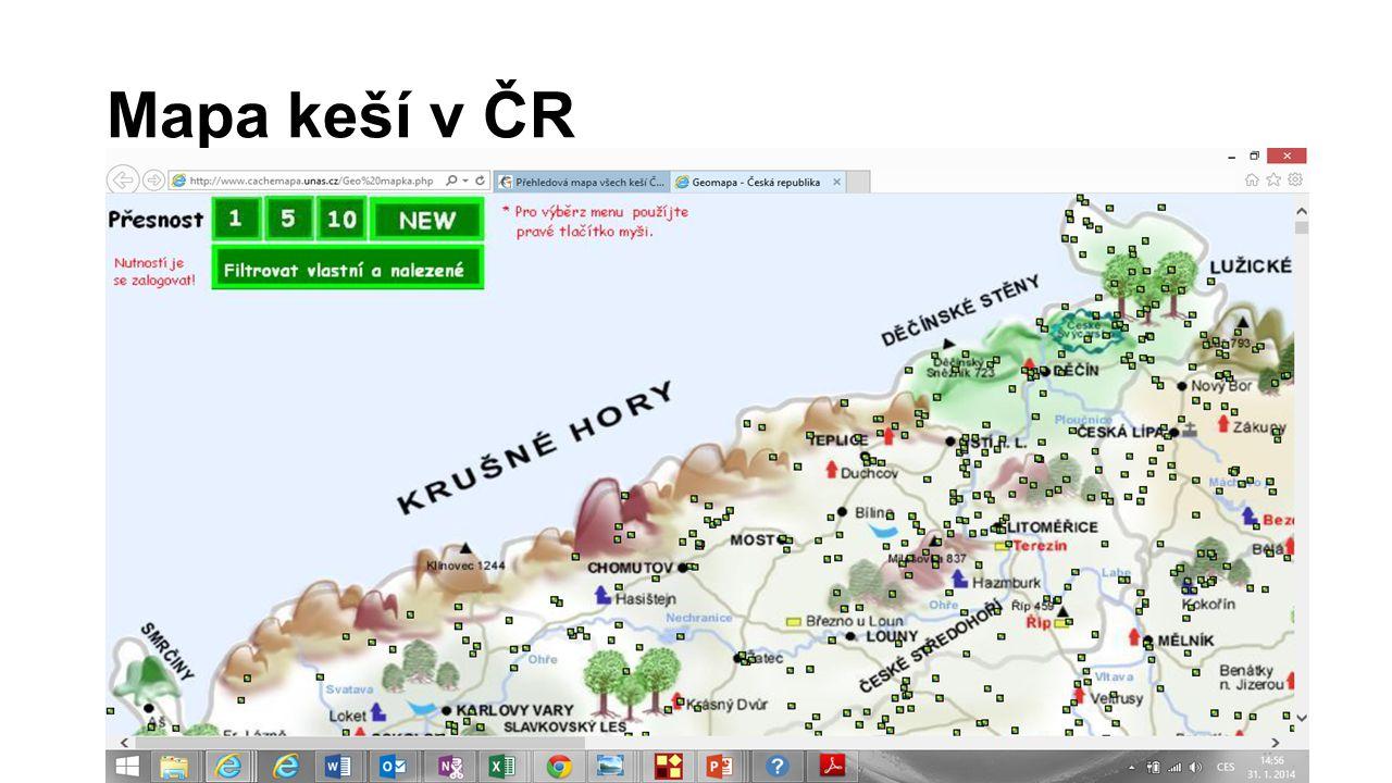 Mapa keší v ČR