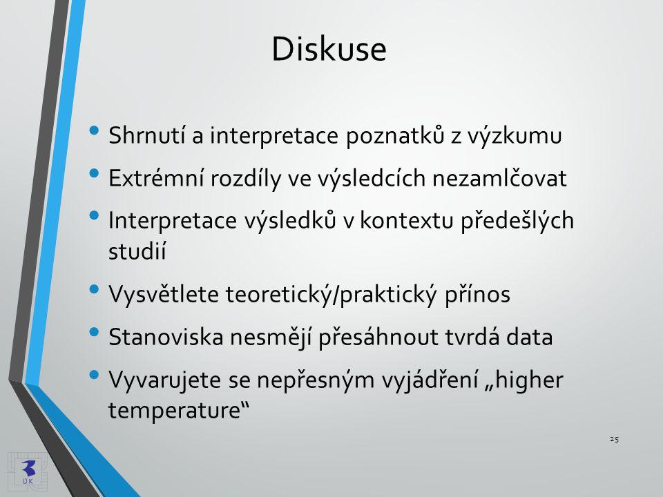 Diskuse Shrnutí a interpretace poznatků z výzkumu