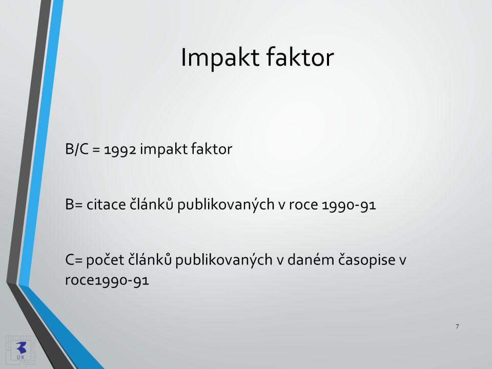 Impakt faktor B/C = 1992 impakt faktor