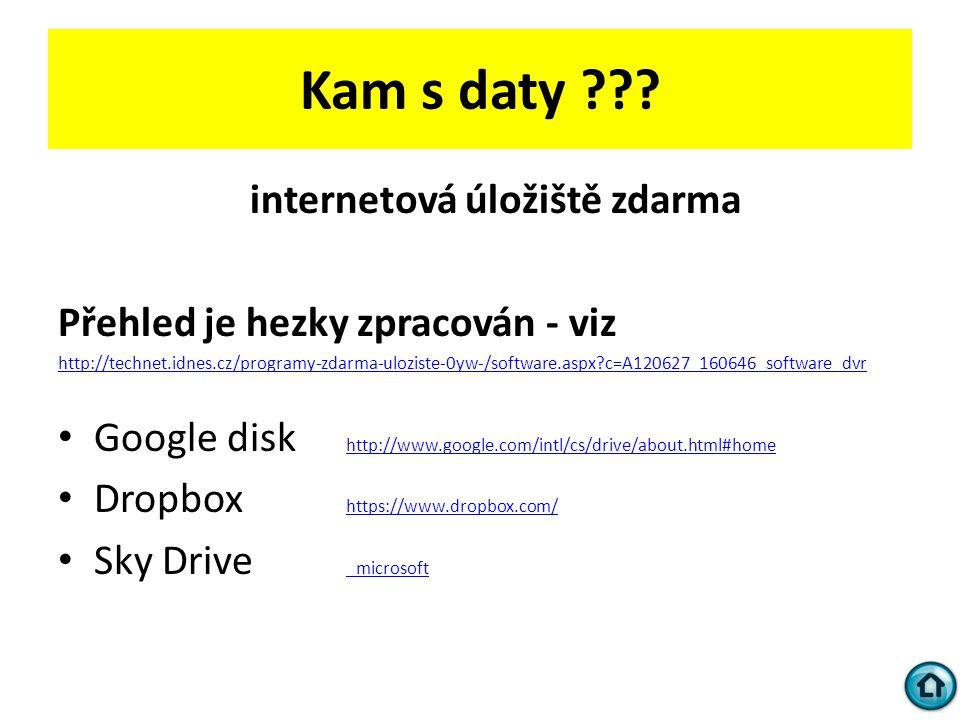 Kam s daty internetová úložiště zdarma