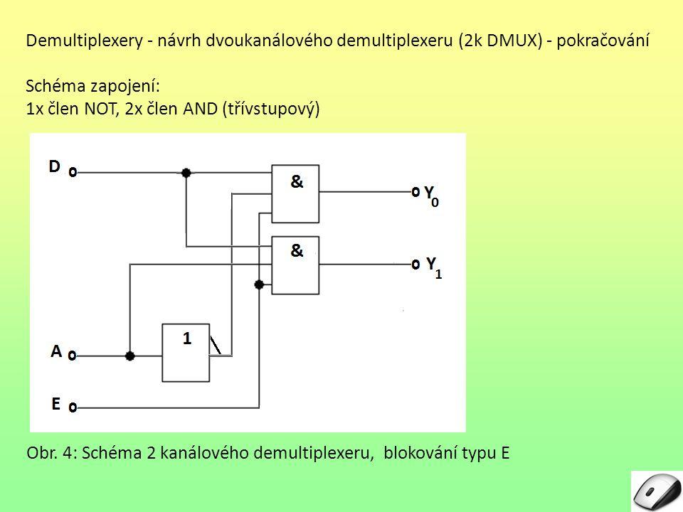 Demultiplexery - návrh dvoukanálového demultiplexeru (2k DMUX) - pokračování