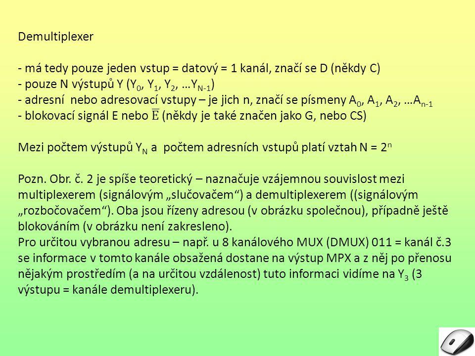Demultiplexer - má tedy pouze jeden vstup = datový = 1 kanál, značí se D (někdy C) - pouze N výstupů Y (Y0, Y1, Y2, …YN-1)