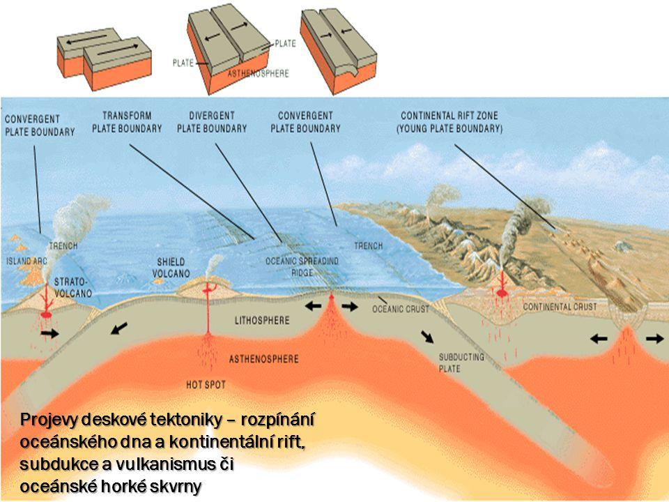 Projevy deskové tektoniky – rozpínání oceánského dna a kontinentální rift, subdukce a vulkanismus či oceánské horké skvrny