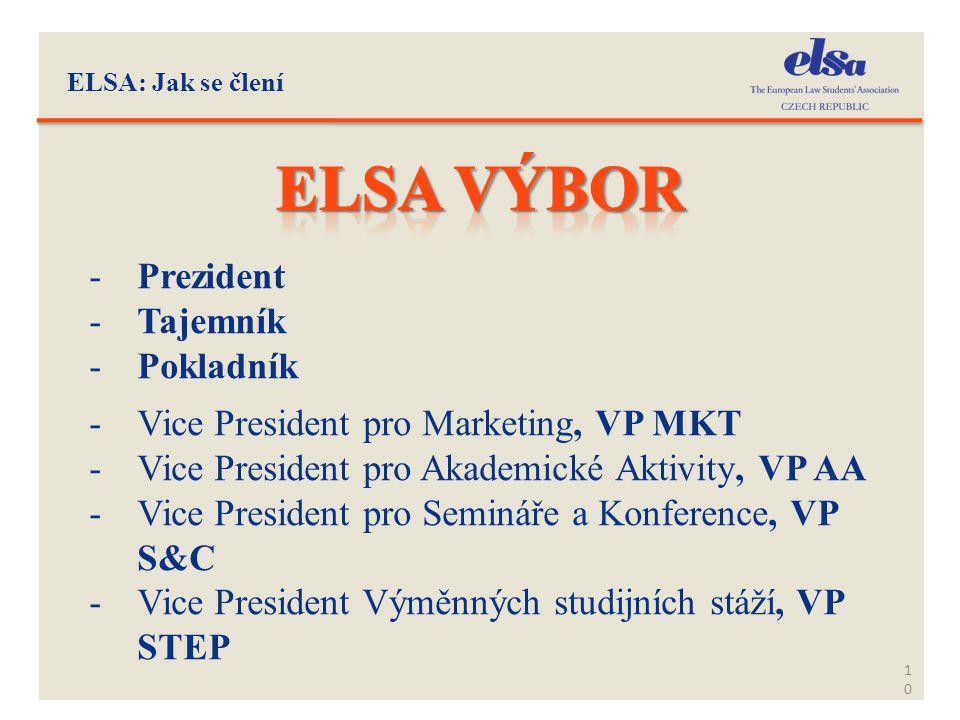 Elsa výbor Prezident Tajemník Pokladník