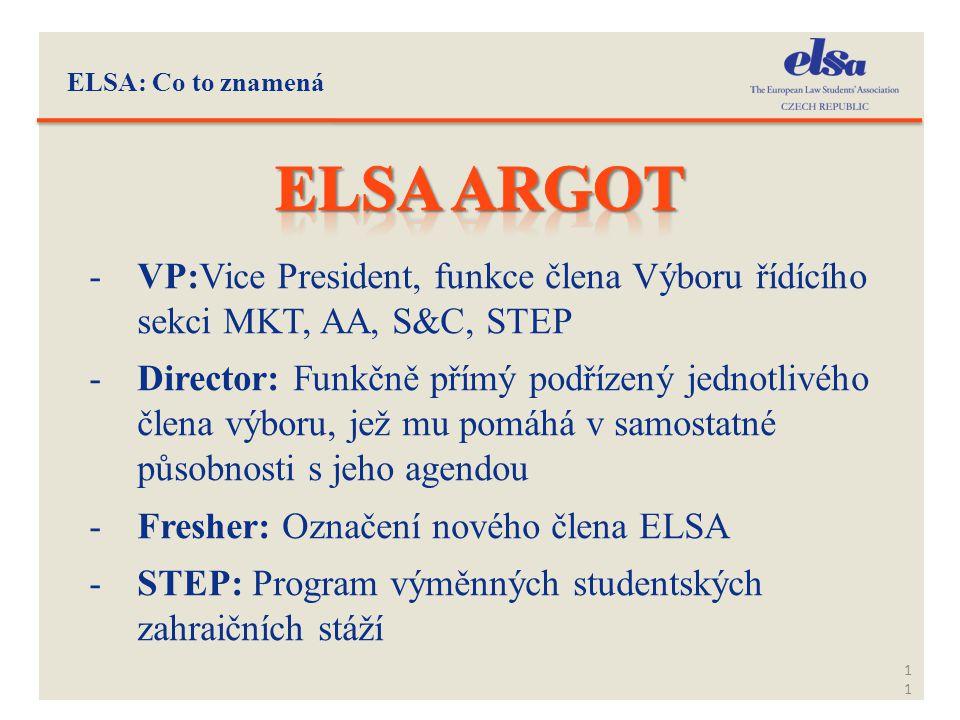 ELSA: Co to znamená Elsa Argot. VP:Vice President, funkce člena Výboru řídícího sekci MKT, AA, S&C, STEP.