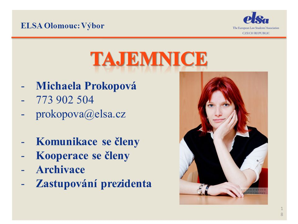 Tajemnice Michaela Prokopová 773 902 504 prokopova@elsa.cz