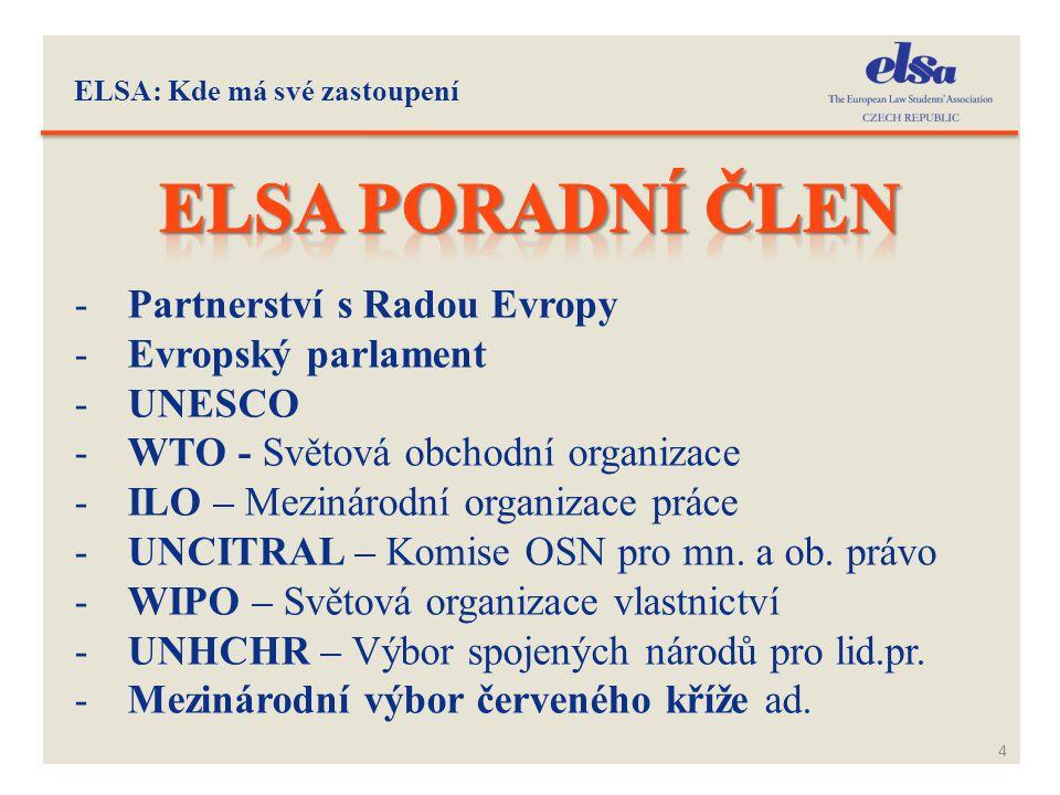Elsa poradní člen Partnerství s Radou Evropy Evropský parlament UNESCO