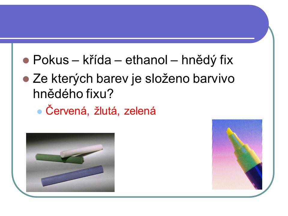 Pokus – křída – ethanol – hnědý fix