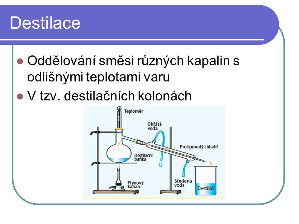 Destilace Oddělování směsi různých kapalin s odlišnými teplotami varu