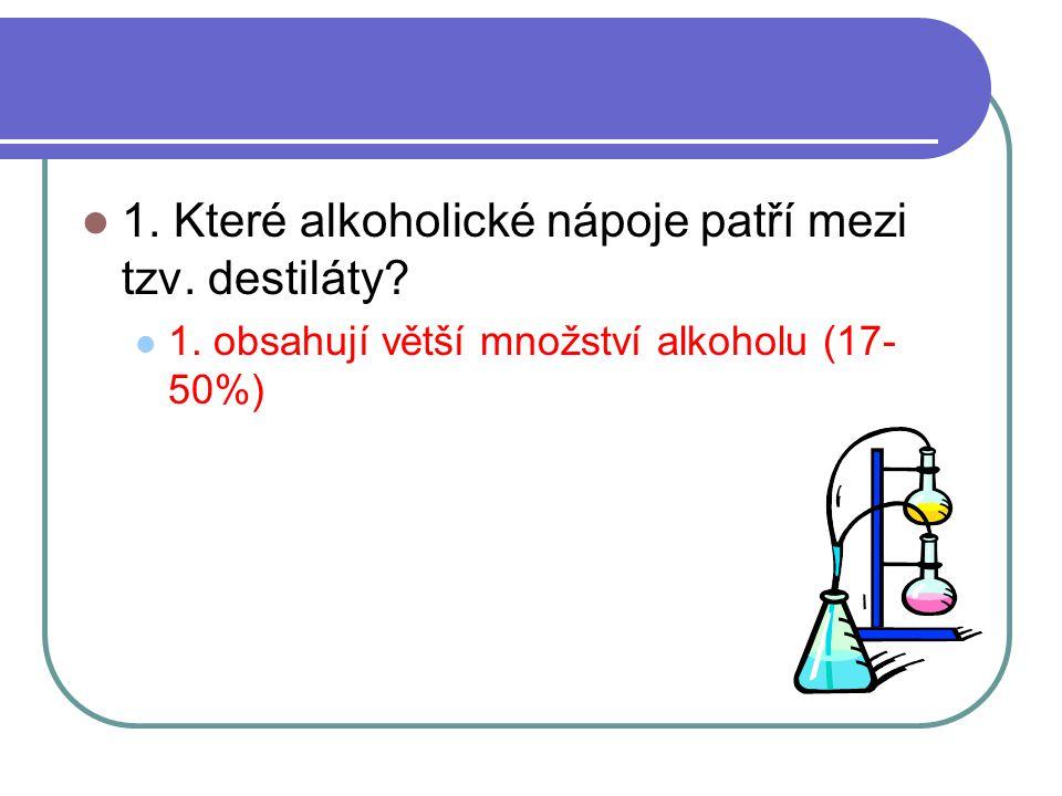 1. Které alkoholické nápoje patří mezi tzv. destiláty