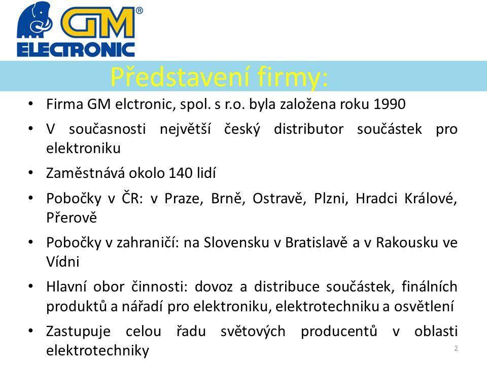 Představení firmy: Firma GM elctronic, spol. s r.o. byla založena roku 1990. V současnosti největší český distributor součástek pro elektroniku.